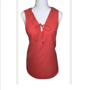 Saks Fifth Avenue Sleeveless Blouse Top Coral